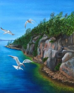 Flyers Over Georgian Bay, Oil on Canvas, 20 x 16 inches, Copyright Wendie Donabie